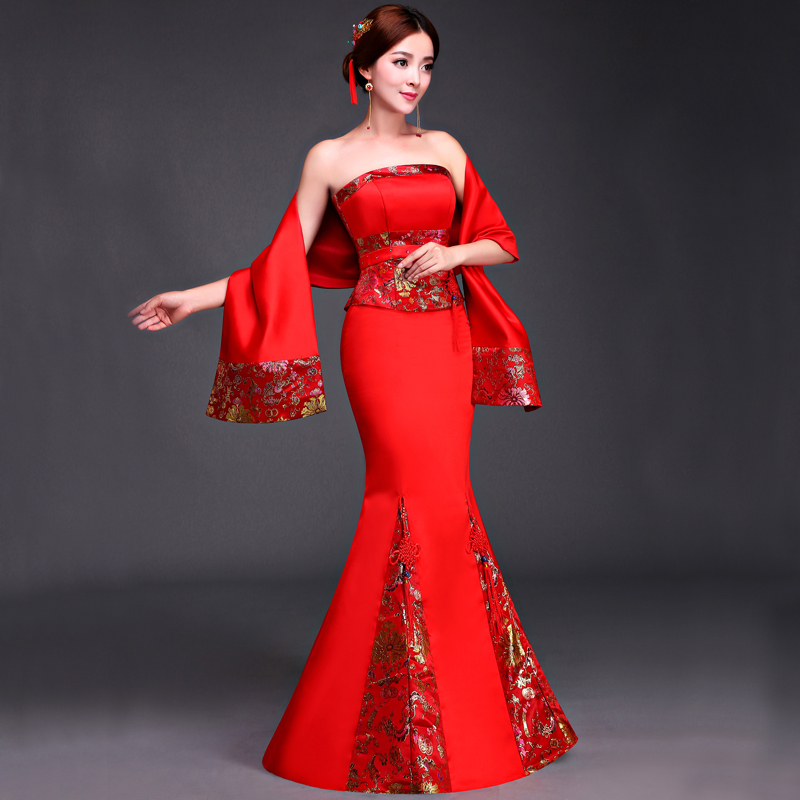 China Dress Traditional Cheongsam Red Mermaid Evening Party Chinese Wedding Qipao Long Oriental Dresses Robe Chinoise Vestido