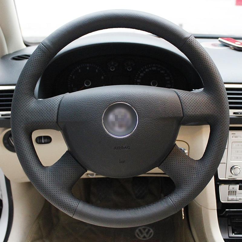 Skinnende hvede Håndstiket sort læder rathjul til Volkswagen VW - Bilinteriør tilbehør - Foto 2