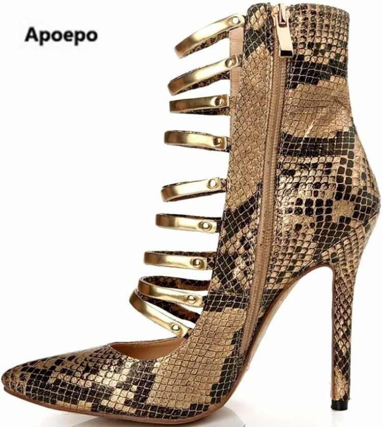 Apoepo brand Gold boots girls Gladiator sexy Serpentine shoes women high heels ankle boots for women metal decor zapatos mujer apoepo 2018 ankle boots for women black leather suede riding boots sexy high heels shoes women boots pointed toe zapatos mujer