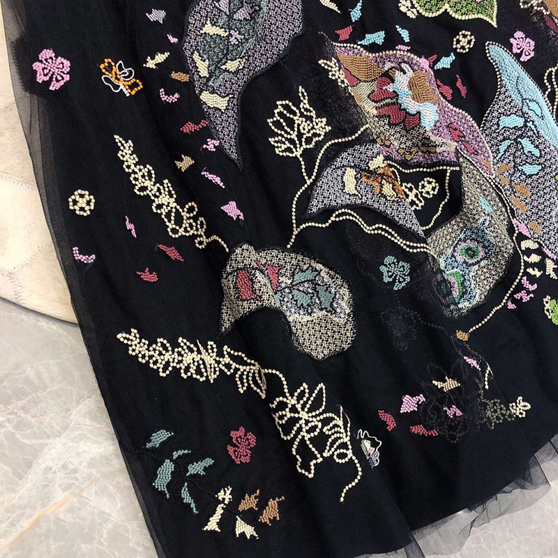 Élégantes Longue Filet A Femelle Dames Jupe Les longues Pour 2019 Noir Broderie Femmes En Mi ligne Jupes Printemps tw5H4qC