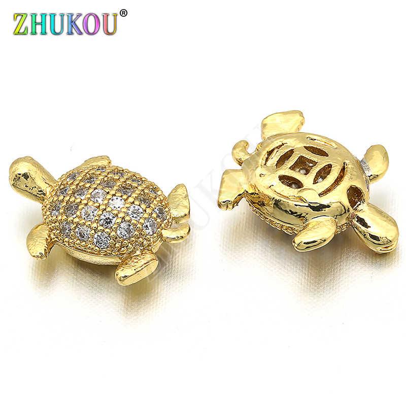 9*12mm latón cúbico circonio cuentas de tortuga para accesorios de joyería DIY, Color mixto, agujero: 0,5mm, modelo: VZ155