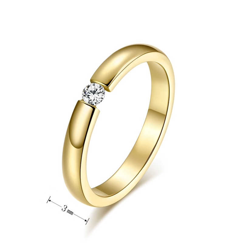 3mm Simple Design Rings For Women Men Jewelry Champagne Gold color ...