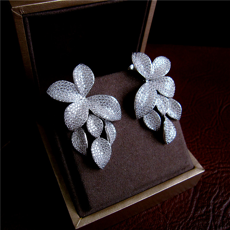 Luxury micro pave setting AAA cubic zirconia leaves shaped drop earrings dress patry accessaries,E2299C tropical leaves drop earrings