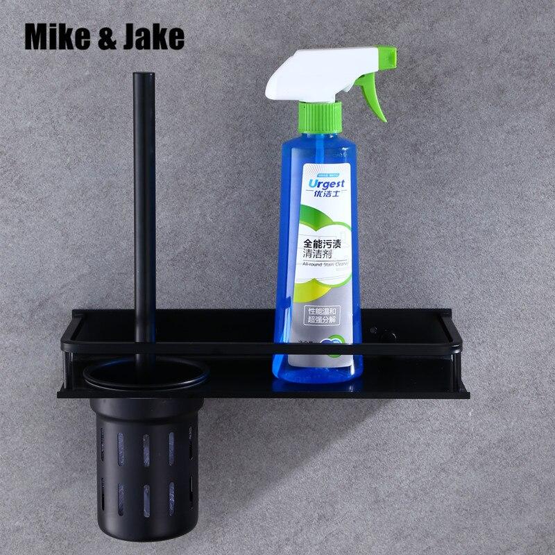 Bathroom Black Aluminum Brush Holder Wall Brush Rack Bathroom Luxury Us Style Black Brush Shelf Bathroom Accessories MH6003