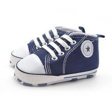 Newborn Baby Boys Girls Infant Toddler Lace-Up Comfortable Canvas Prewalker Summer Soft Sole Anti-slip Shoes