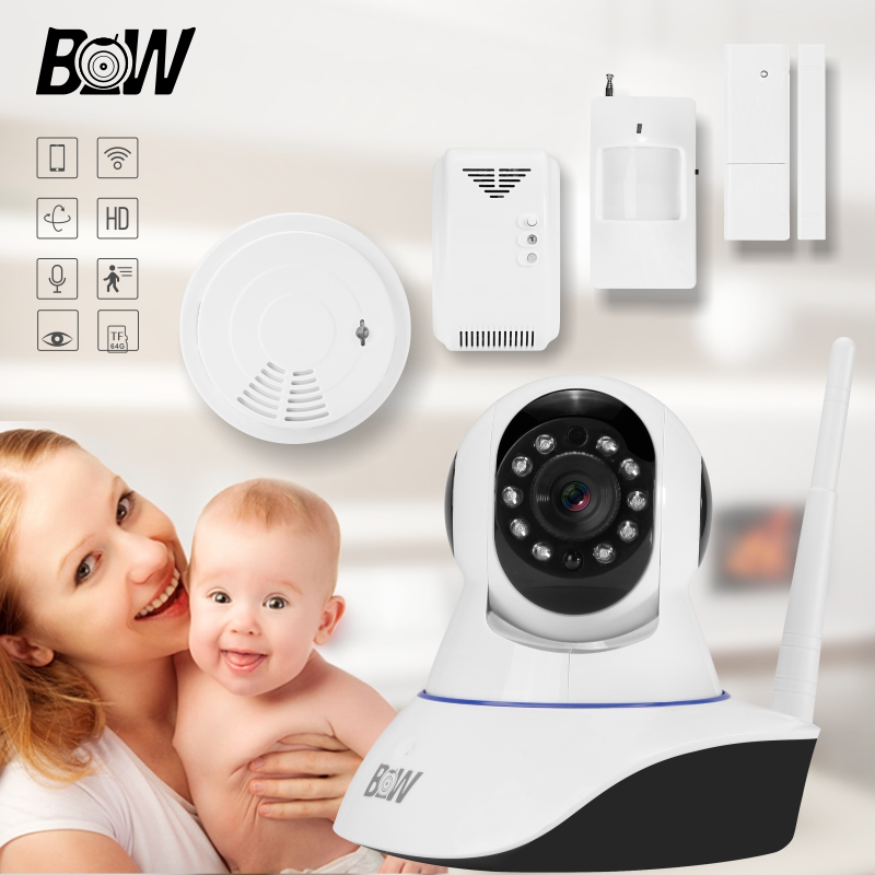 Mini Smart 720P HD IP Camera Wifi + Door Sensor/Infrared Motion Sensor/Smoke/Gas Detector Home Wireless Security Camera BW002S 720p hd ip camera security door sensor infrared motion sensor smoke gas detector wifi camera monitor equipment alarm bw13b