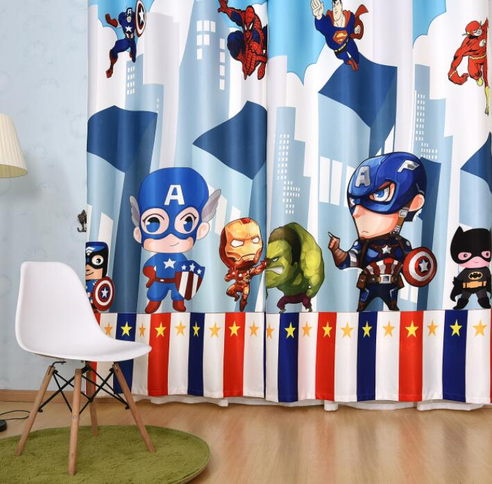 Cartoon Super Heros The Avengers Curtain for Living Room Boys Children Bedroom Sheer Kids Cortina Window Treatment 70 Shade 2pc in Curtains from Home Garden
