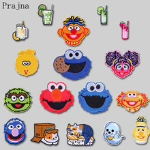 Prajna Anime Lovely Sesame Street Patch ELMO COOKIE MONSTER Cat Iron On Embroidered Patches For Clothing Kids Applique