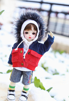 BJD doll suit for 1/4 1/6 yosd. MDD jacket with large fur collar warm patchwork pocket coat doll accessories