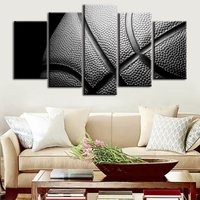 5 Piece Black Grey Basketball Painting Modular Abstract Picture Modern Wall Art Canvas Poster HD Print