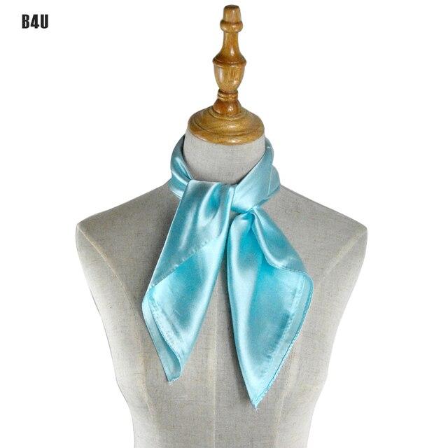 ladies scarves 2016 solid color sky blue vintage scarf women 60cm60cm satin foulard business - Foulard Color