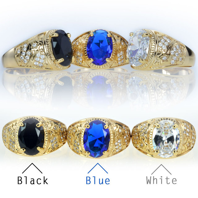brand new high quality CZ diamond mens rings gold filled 2016 fashion figure ring blue ,black, white stone R283A