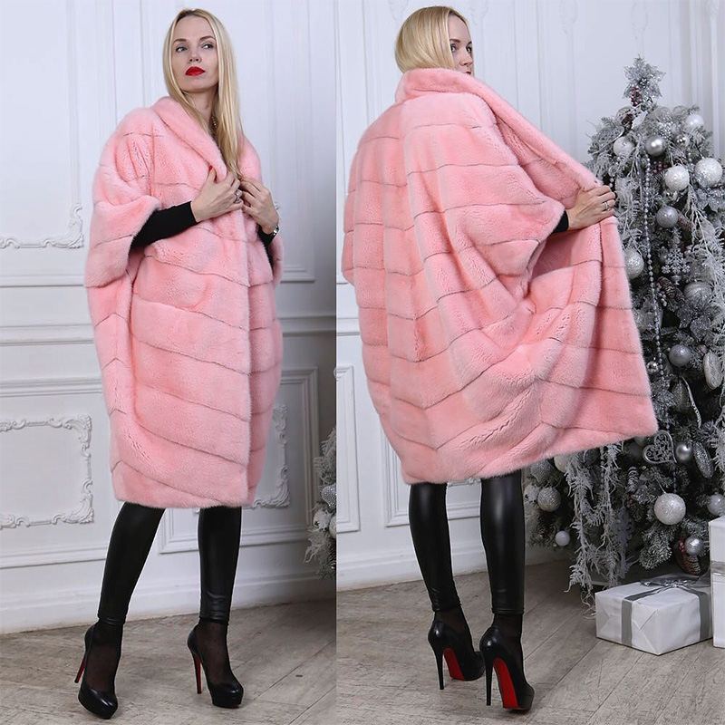 FURSARCAR Loose Mink Real Fur Coat Women Plus Size Luxury Warm Fur With Fur Collar Long New 2018 Fashion Bat Sleeve Pink Color
