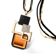 Vintage Geometric Rectangular Pendant Necklace All-match Crystal Rope Chain Sweater Chain Women Fashion Accessories Gift недорого