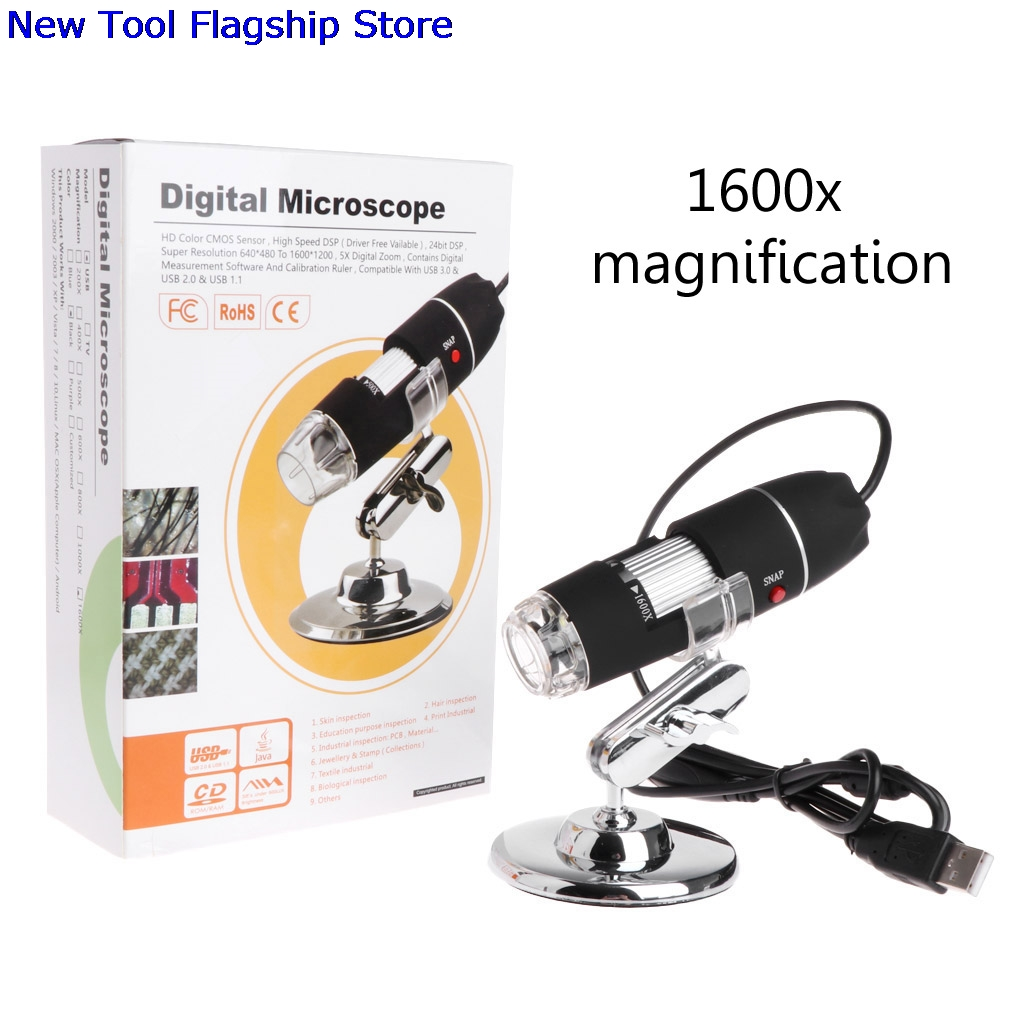 1600X2 MP Zoom microscopio 8 LED USB Digital de mano lupa Cámara endoscópica