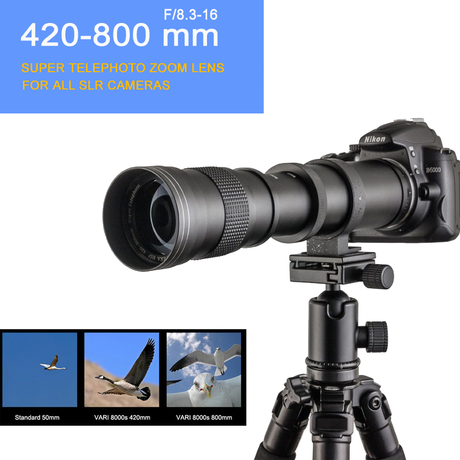 420-800mm F/8.3-16 DSLR Super Telephoto Manual Zoom Lens+Bag for Canon Nikon Pentax Olympus Sony A6500 A7SII 6300 GH4 сумка для видеокамеры lowepro ii dslr canon nikon sony lp2rr