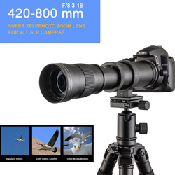 420-800mm F/8.3-16 DSLR Super Telephoto Manual Zoom Lens+Bag for Canon Nikon Pentax Olympus Sony A6500 A7SII 6300 GH4
