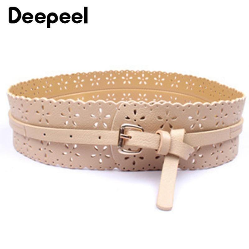 Deepeel 2pc 6.5*96cm Retro Hollow Wide Belt Fashion Twotwinstyle Wild Decoration Cummerbunds Imitation Leather Wide Women Belt