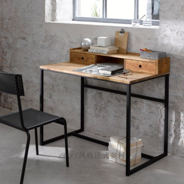 American Country Pine Wood, Wrought Iron Desk Ikea Computer Desk With  Bookcase Desk Combination Bookcase