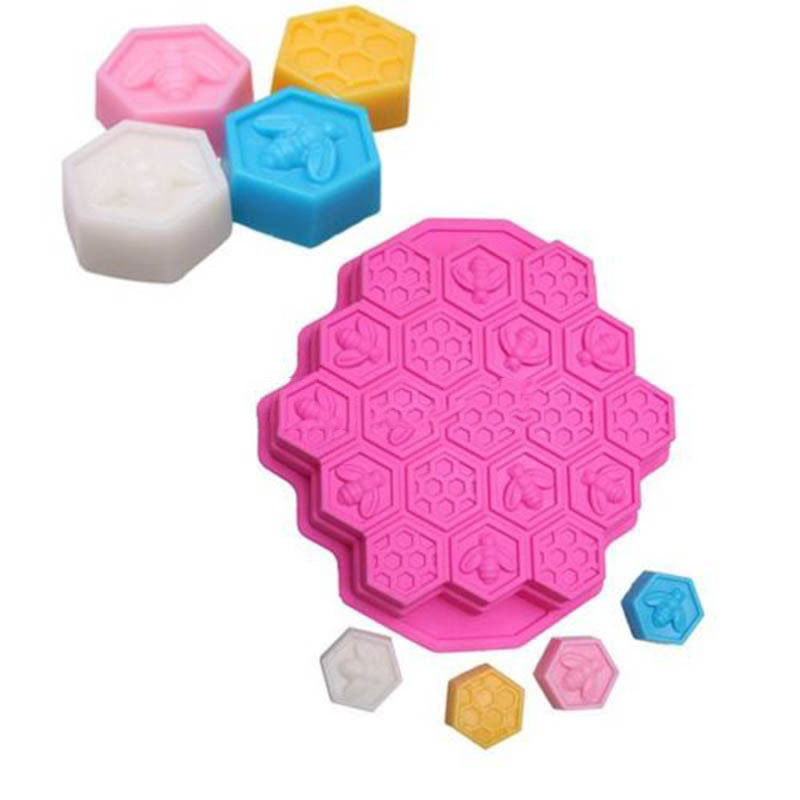 19 Cell Honey Comb Bees SOAP Mould Beeswax Ice Jelly Chocolate Silicone Cake Pan DIY Cake Decoration