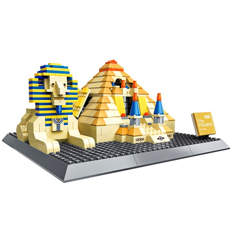 купить WANGE Architecture Egypt Pharaoh Pyramid Building Blocks Sets Bricks Classic City Skyline Model Kids Toys Compatible Legoings по цене 1842.79 рублей