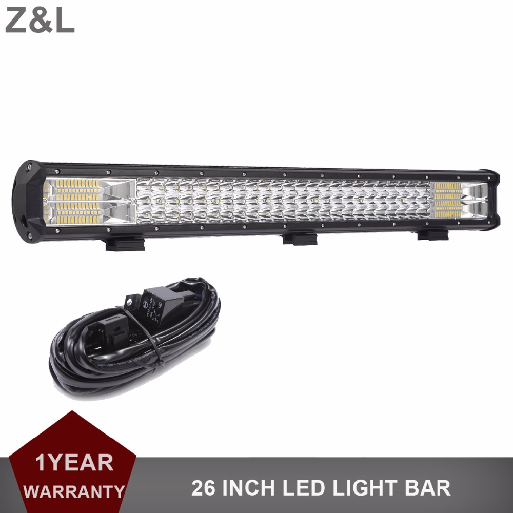 26 INCH TRI-ROW LED Light Bar Offroad Led Work Lamp 12v 24v Truck SUV ATV 4x4 AWD Wagon Trailer Car Tractor Pickup Driving Lamp 10w led work light 2 inch 12v 24v car auto suv atv 4wd awd 4x4 off road led driving lamp motorcycle truck headlight