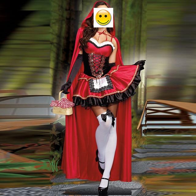 VASHEJIANG high quality Sexy Little Red Riding Hood Costume Women Halloween Costumes Princess Dress Carnival Cosplay Fancy Dress