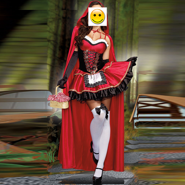 VASHEJIANG جودة عالية مثير ليتل الأحمر ركوب هود زي المرأة هالوين ازياء الأميرة فستان كرنفال تأثيري فستان بتصميم حالم
