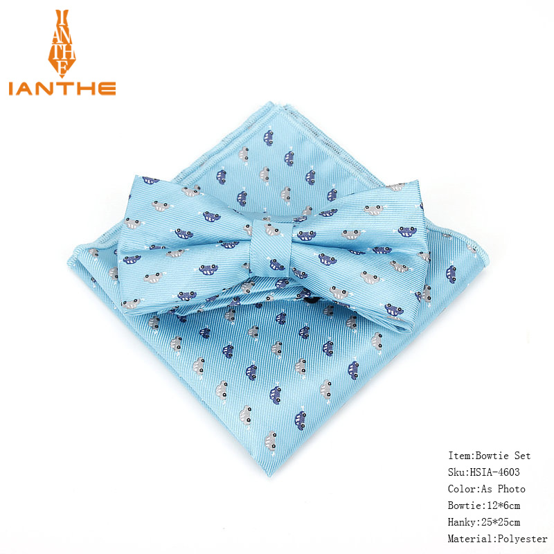 Brand New Men's Vintage Cartoon Car Animal Dot Bowtie Hanky Sets For Man Wedding Business Suits Butterfly Pocket Square Sets