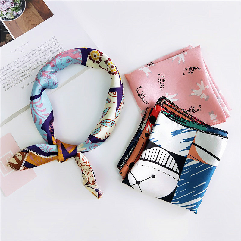 Artifical Silk Satin   Scarf   Square 50X50CM Femme Bandana Accessories Hair Tie Band Women Head Neck Tie Band Neckerchief   Wrap   A95