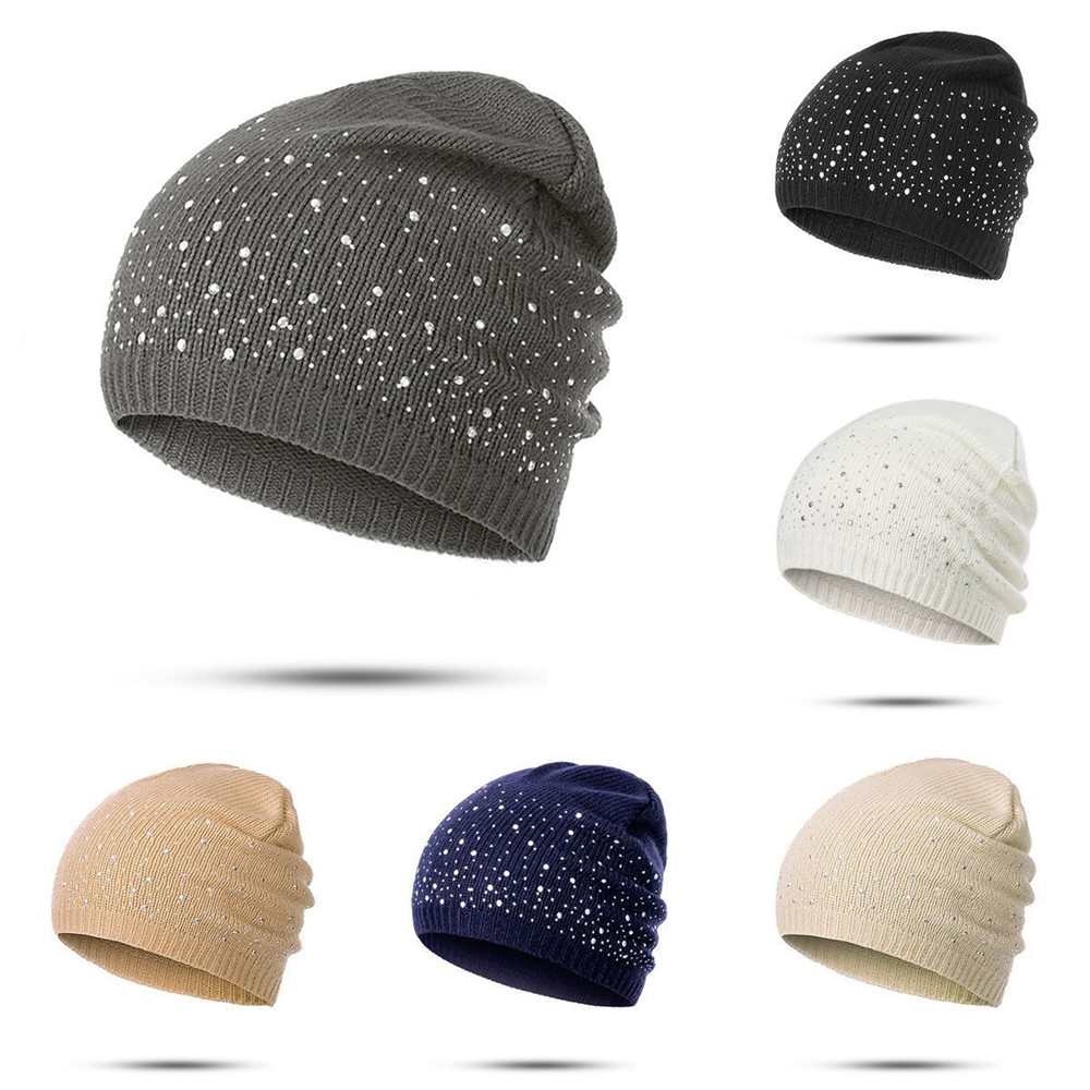 1Pc Fashion Knitted Cotton   Beanies   Cap Women Diamonds Glistening Hats Warm Men   Skullies   Christmas Gift For Spring Autumn Winter
