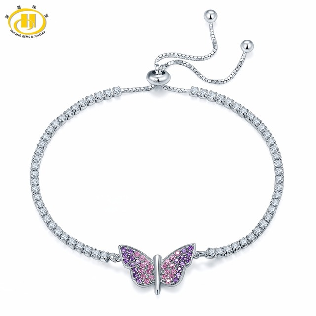 Hutang 925 Sterling Silver Butterfly Adjustable Bracelets for Women's Girl's Crystal Cubic Zirconia Fashion Jewelry Gift New 6+2