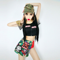 Top Fashion Sexy Ladies 2 Pieces Set Short Sleeve Black Tops Stylish Printed Shorts For Hip