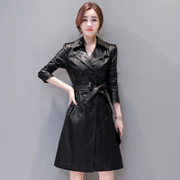 Women Genuine Leather Trench Sashes Autumn 2019 New Winter Double Breasted Female Sheepskin Coat Korean Style Hot Selling