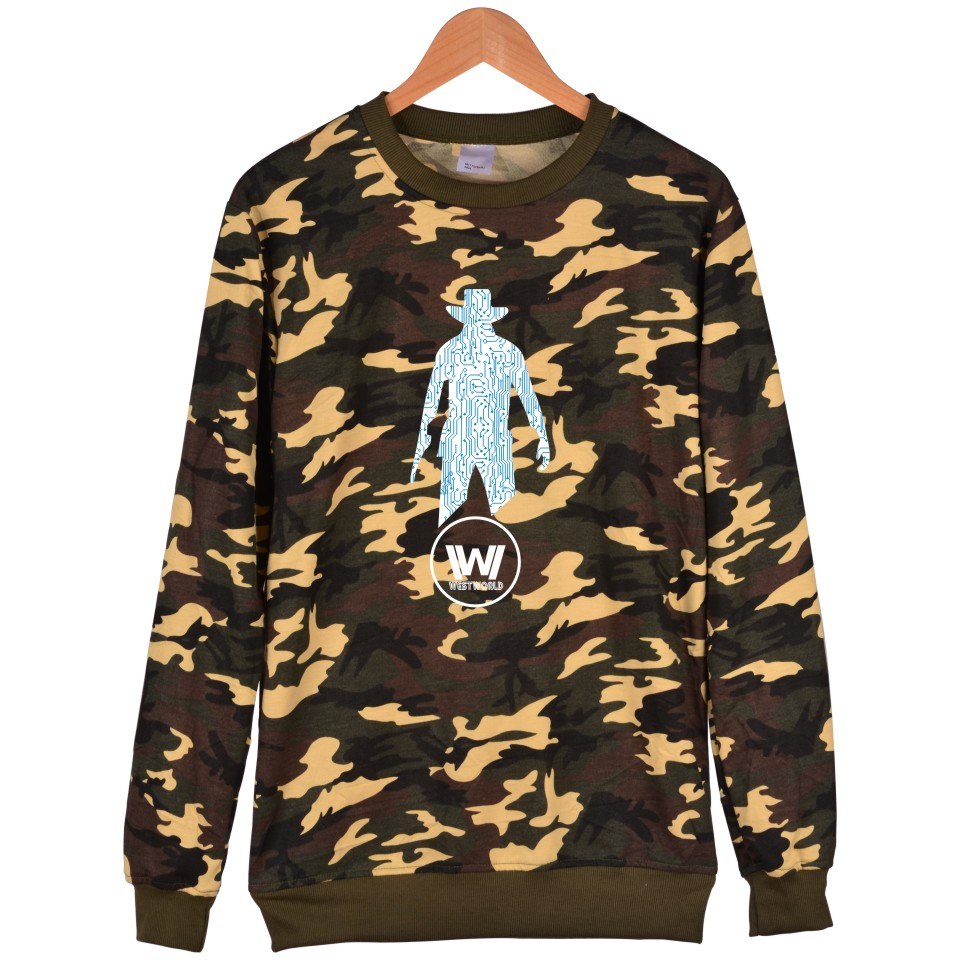 Westworld Printing Camouflage Mens Hoodies And Battle Fatigues West World Men Plus Size And Harajuku Sweatshirt Men XXS To 4XL