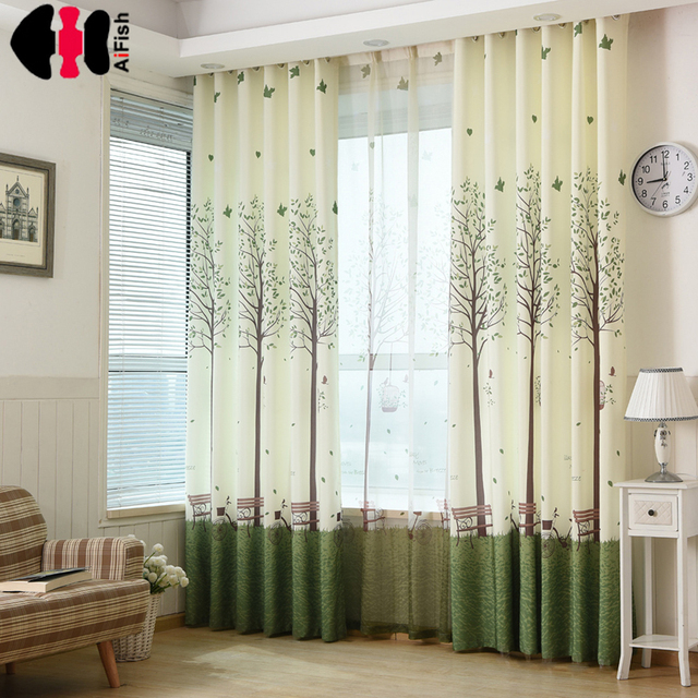 For Home Interior Drapes Cloth Sheer Tulle Curtains Window Green Curtain Fabric Kids Blackout