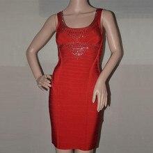 Top Qualität Rot Oansatz Sleeveless Verband Kleid Verband-kleid-cocktailparty-nettes Bodycon Kleid