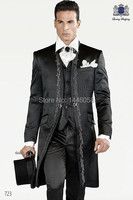 Custom Made Stand Collar Wedding Suits For Men Tuxedos Groom Suit Black Embroidery Mens Wedding Suits