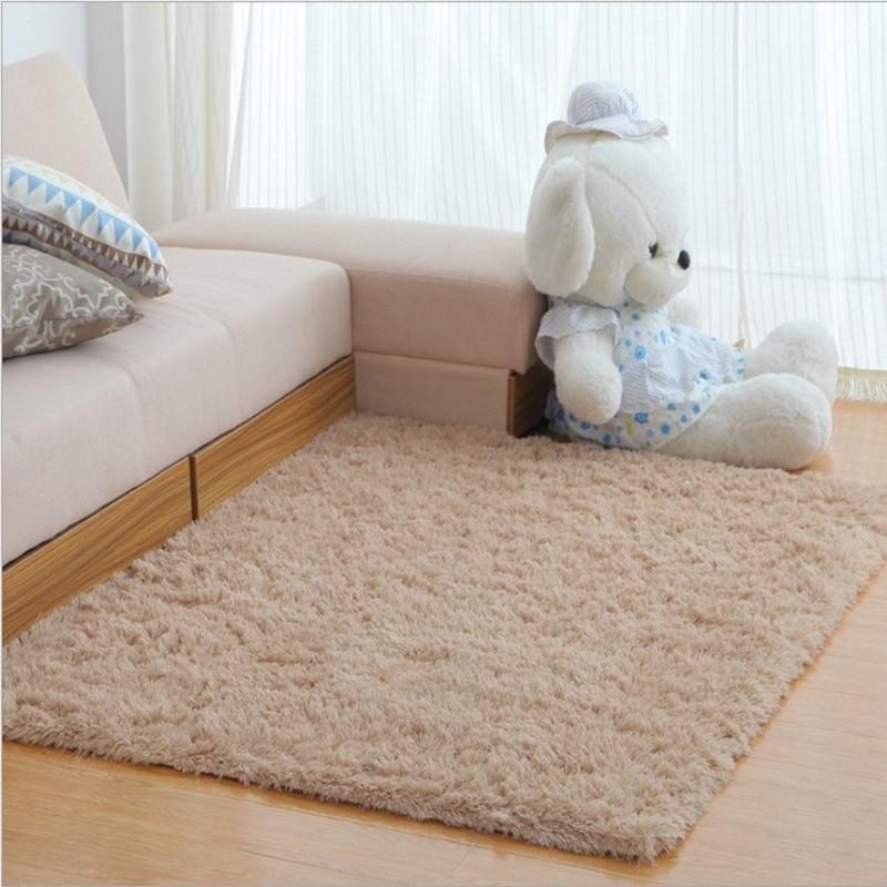 Tapis pour salon Shaggy tapis en laine ivoire tapis anti-dérapant sol chambre tapis doux tapis enfants chambre maison
