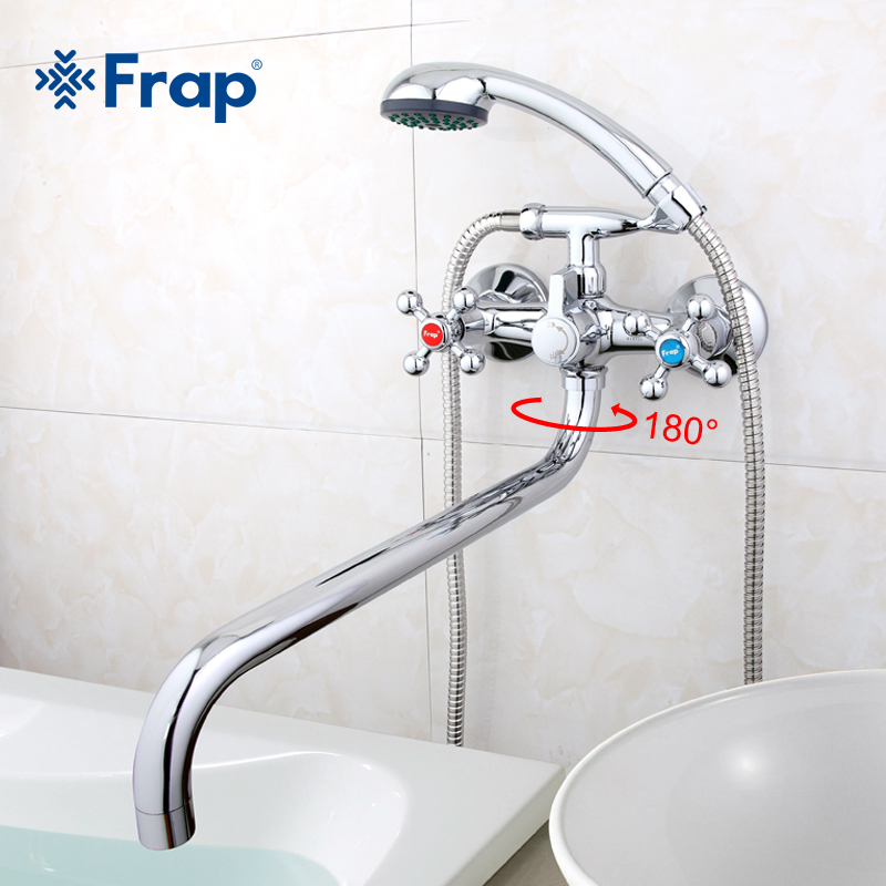 Frap new Wall mounted Silver shower set hand shower bathroom double handle dual hole shower faucet system with 36cm nose F2619-2