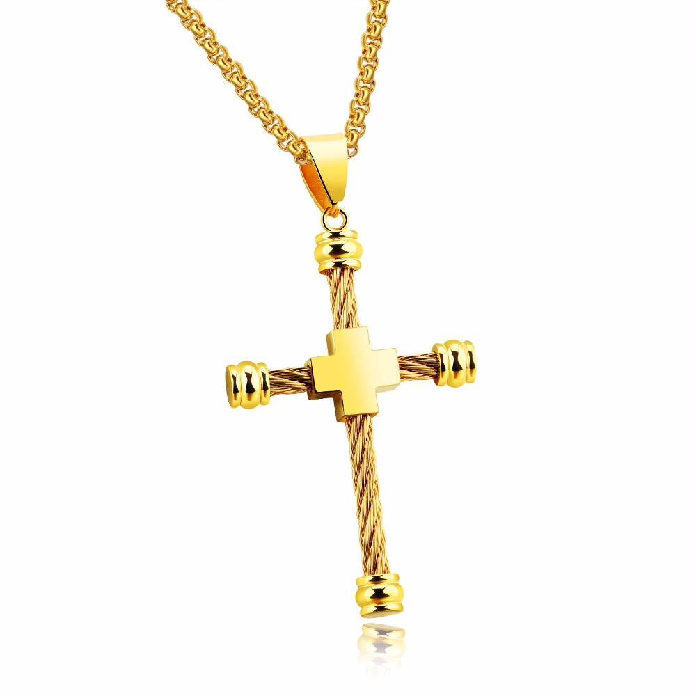 Wire Cable Cross Pendant Necklaces For Men Punk Personalized ...
