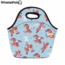 WHOSEPET Women Lunch Bag Cartoon Pattern Print Food Bag Kids Lunch Bags Portable Snack Bolsa Fashion Meals Sacola Cooler Female