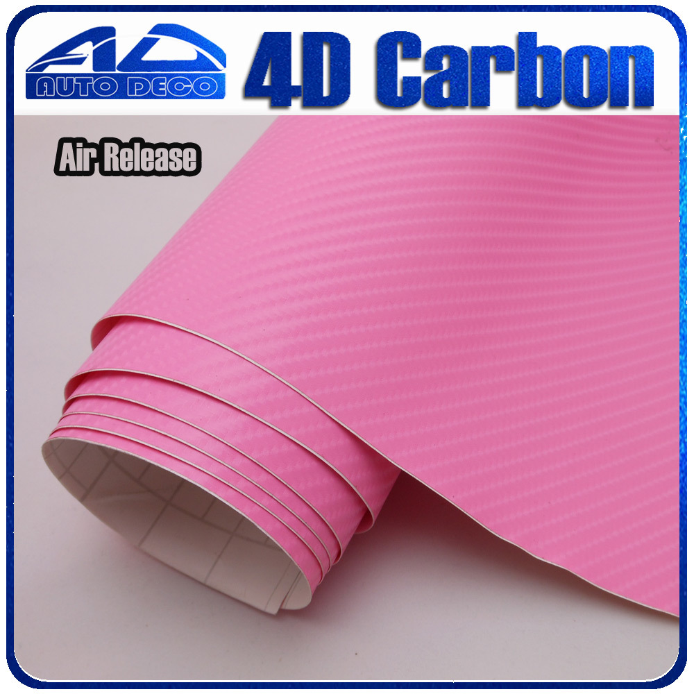 Wholesale 4d Carbon Fiber Vinyl Pink Carbon Sticker Film For Car Wrapping With Bubble Free FedEx Free Shipping 30m/roll quality guarantee silver chrome vinyl film for car wrapping sticker with air bubble free 20m roll