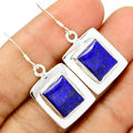 Hand Made Genuine Lapis Lazuli Earrings 100 Solid 925 Sterling Silver KE0118