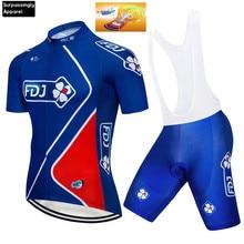 Синий FDJ короткий рукав Велоспорт Джерси Биб устанавливает Мужская одежда для велосепидистов летняя Ropa Ciclismo дышащие спортивные одежды для велосипедиста