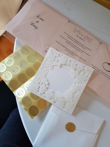 WISHMADE Laserski rez vjenčanja pozivnice kartice Elegantno Cvijeće - Za blagdane i zabave - Foto 6