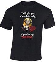 San Valentino Minion T-Shirt Tee Camicia A Manica Corta Estate delle Signore Regalo di Cioccolato Divertenti Uomini Vendita Calda Euro Size