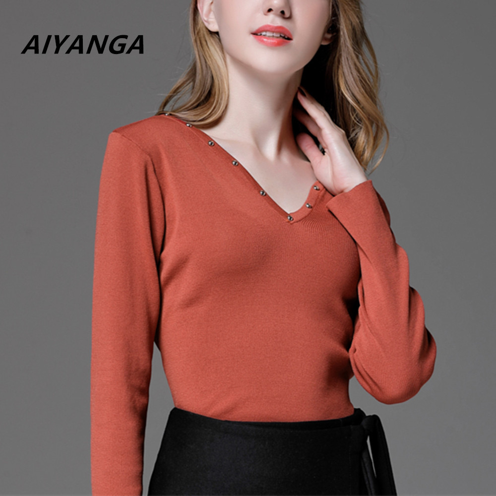 Women Sweater Pullover Rivet Knitted Cotton Tops Solid V Neck Slim Jumper Long Sleeve Sweaters Autumn Spring 2018 Plus Size