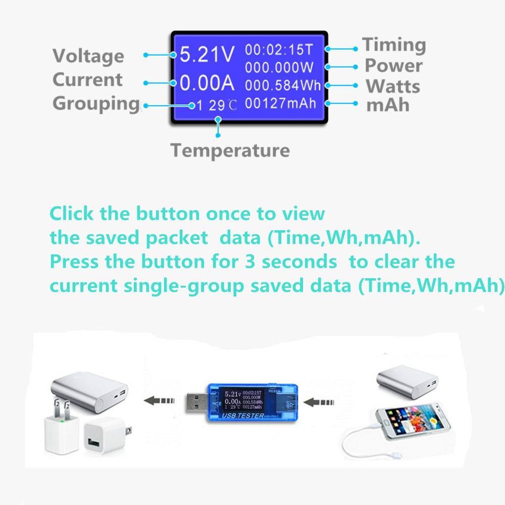 USB Prąd i napięcie Ładowarka Tester pojemności Tekst lekarza - Przyrządy pomiarowe - Zdjęcie 4