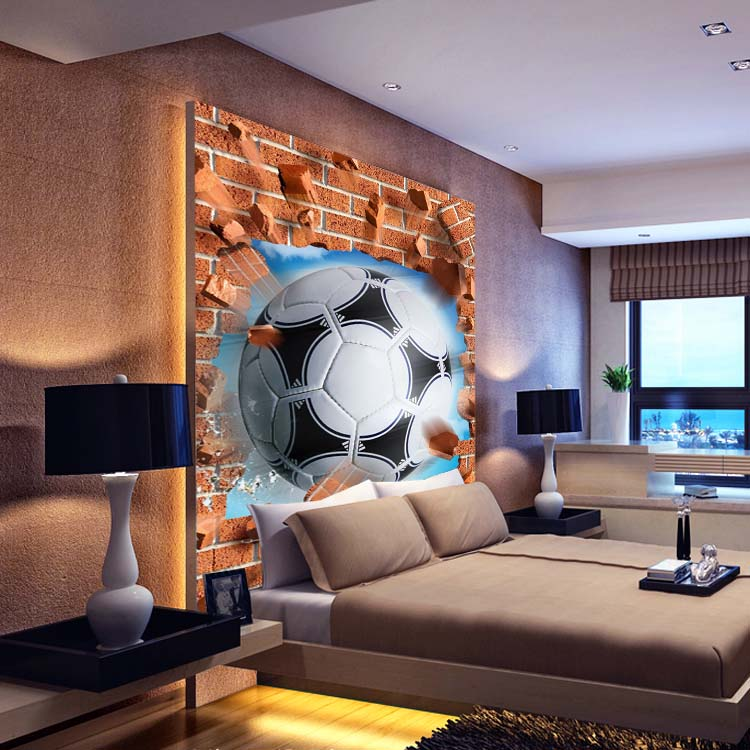 Soccer wall murals 3d wall paper decoration living room sofa